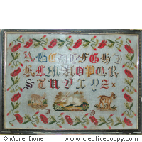 Antique sampler with poppies <br> IEFD46-PRT