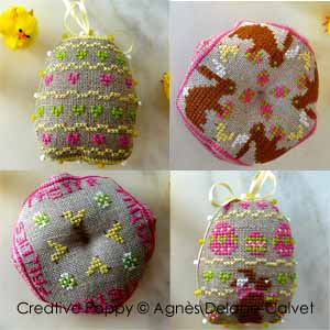 Little Easter bunnies cross stitch pattern by Agnès Delage-Calvet