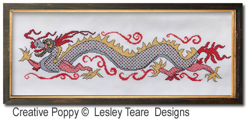 Blackwork Dragon cross stitch pattern by Lesley Teare Designs