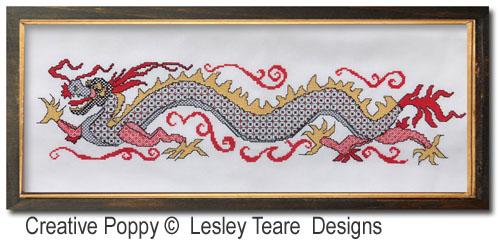 Blackwork Dragon cross stitch pattern by Lesley Teare Designs