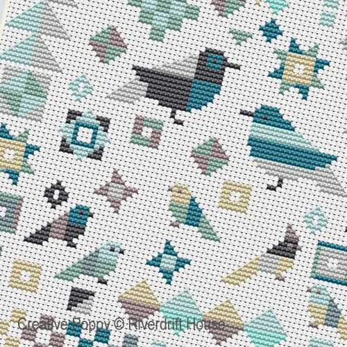 Patchwork Birds cross stitch pattern by Riverdrift House, zoom 4