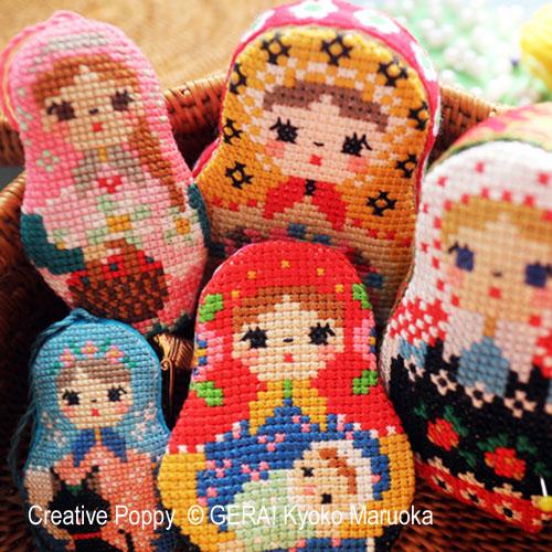 Matryoshka Needlework set II cross stitch pattern by GERA! Kyoko Maruoka