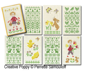 8 Easter motifs cross stitch pattern by Perrette Samouiloff