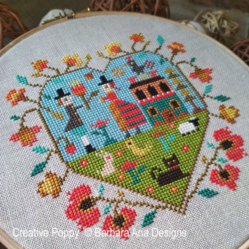 Spring Heart cross stitch pattern by Barbara Ana Designs