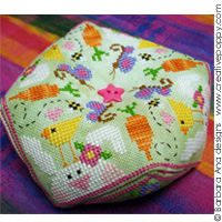 Spring biscornu cross stitch pattern by Barbara Ana Designs