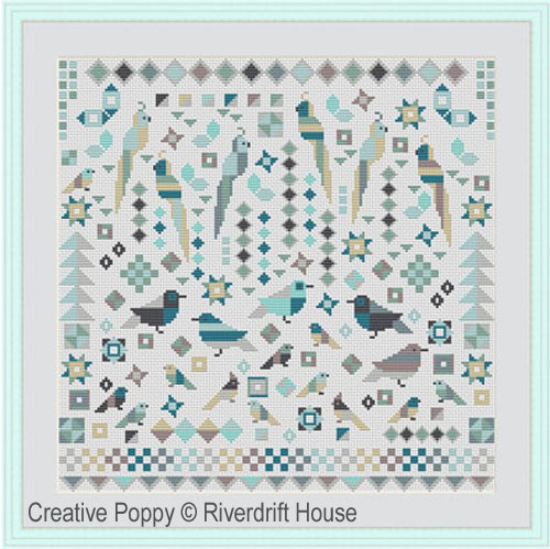 Patchwork Birds cross stitch pattern by Riverdrift House