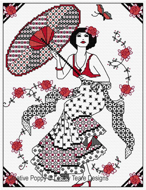 Blackwork Girl with Parasol cross stitch pattern by Lesley Teare Designs