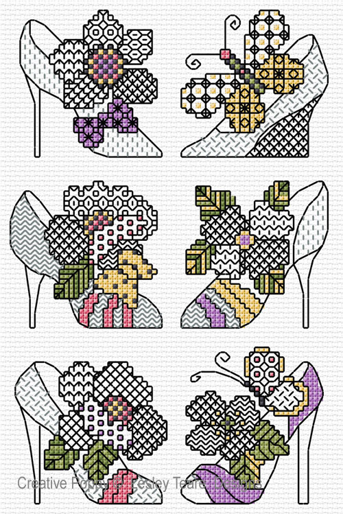 Blackwork Shoes cross stitch pattern by Lesley Teare Designs