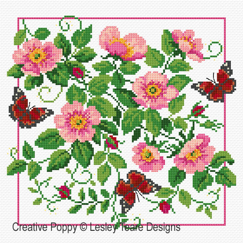 Briar Roses & Butterflies cross stitch pattern by Lesley Teare Designs