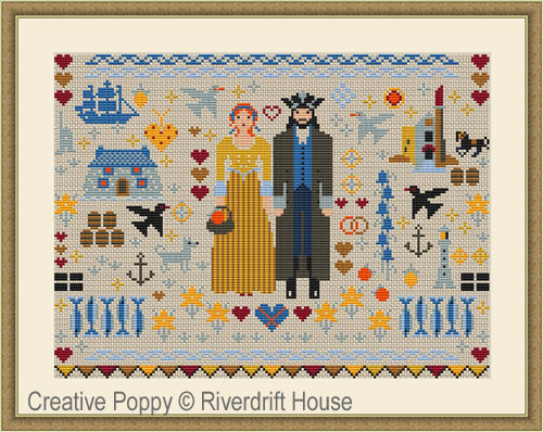 Cornish Folkies Sampler cross stitch pattern by Riverdrift House