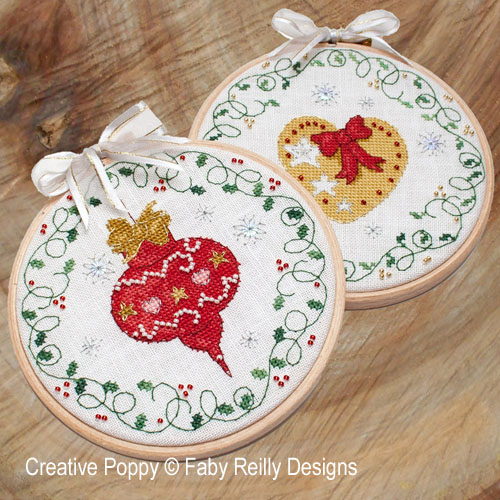 Bauble & Heart Hoops  cross stitch pattern by Faby Reilly Designs