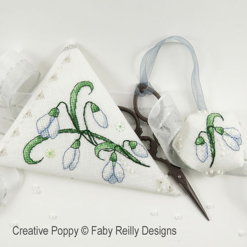 Snowdrop Scissor case cross stitch pattern by Faby Reilly
