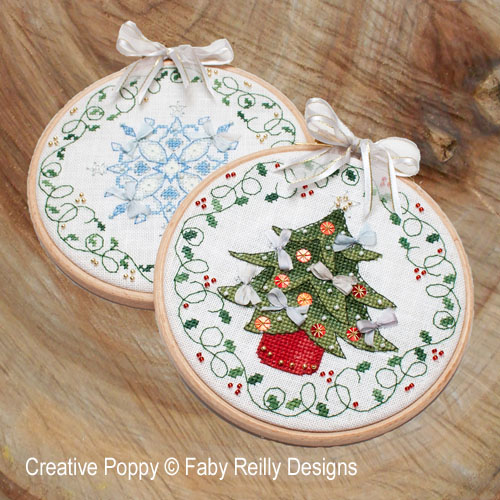 Tree & Snowflake Hoops cross stitch pattern by Faby Reilly Designs