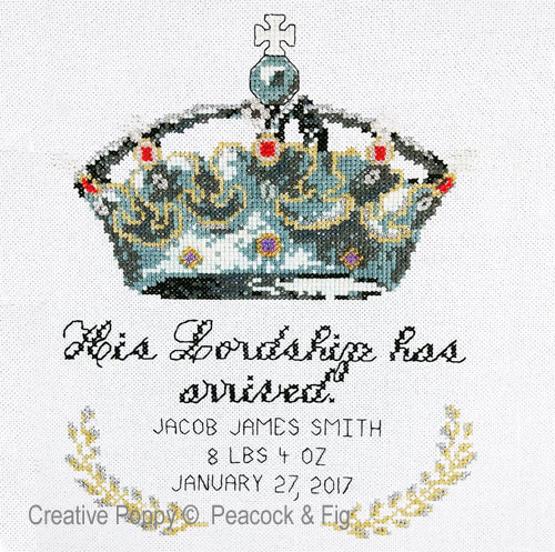 His Lordship (birth announcement) cross stitch pattern by Peacock & Fig
