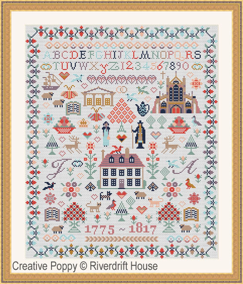 Jane Austen Sampler cross stitch pattern by Riverdrift House