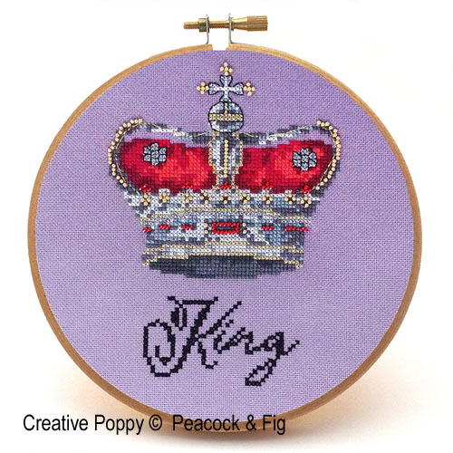 King cross stitch pattern by Peacock & Fig