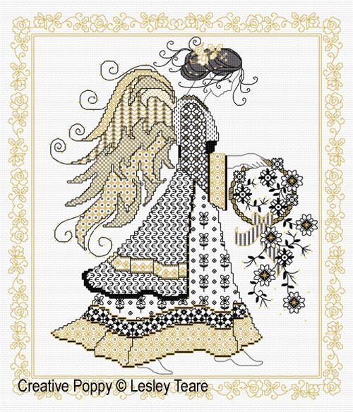 Blackwork angel cross stitch pattern by Lesley Teare