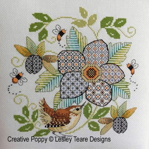 Blackwork - Flower with Wren cross stitch pattern by Lesley Teare Designs