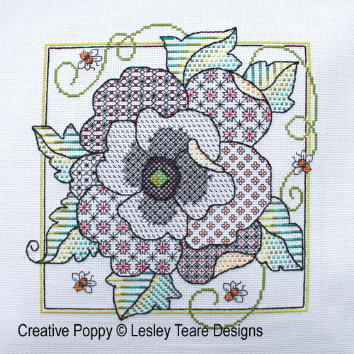 Poppy Blackwork cross stitch pattern by Lesley Teare Designs