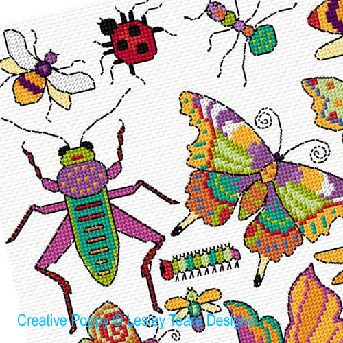Bugs & Butterflies cross stitch pattern by Lesley Teare Designs, zoom 1