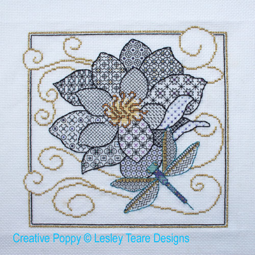 Flower & Dragonfly cross stitch pattern by Lesley Teare Designs