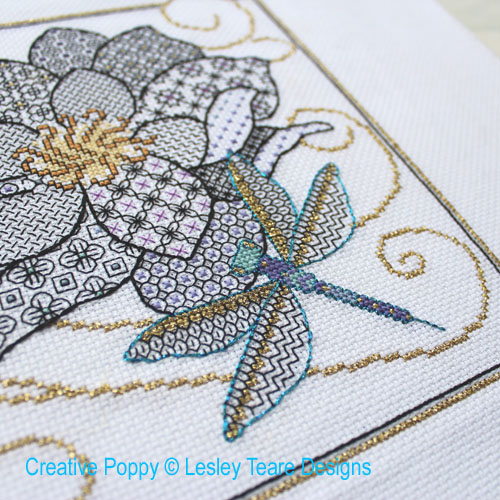 Flower & Dragonfly cross stitch pattern by Lesley Teare Designs, zoom 1