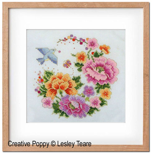 Oriental Bird & Flower Design cross stitch pattern by Lesley Teare