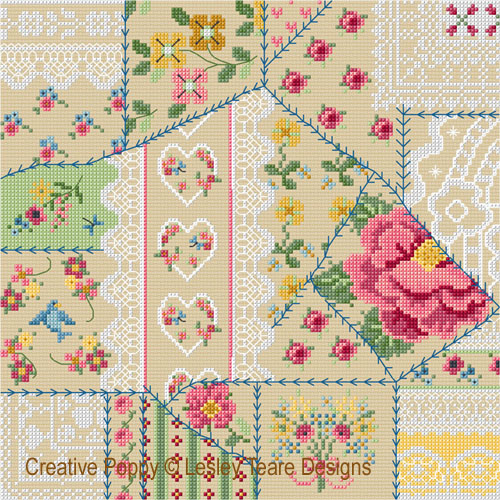 Vintage Crazy Patchwork cross stitch pattern by Lesley Teare Designs