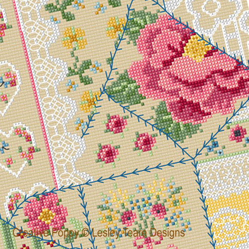 Vintage Crazy Patchwork cross stitch pattern by Lesley Teare Designs, zoom 1