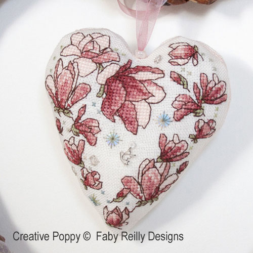 Magnolia Heart cross stitch pattern by Faby Reilly Designs