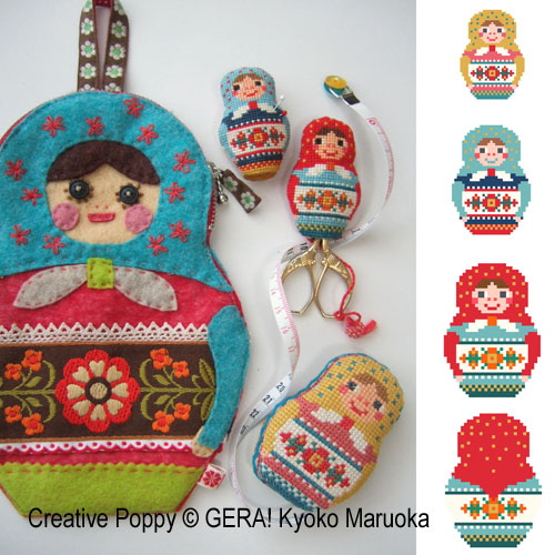 Matryoshka Needlework Set cross stitch pattern by GERA! Kyoko Maruoka