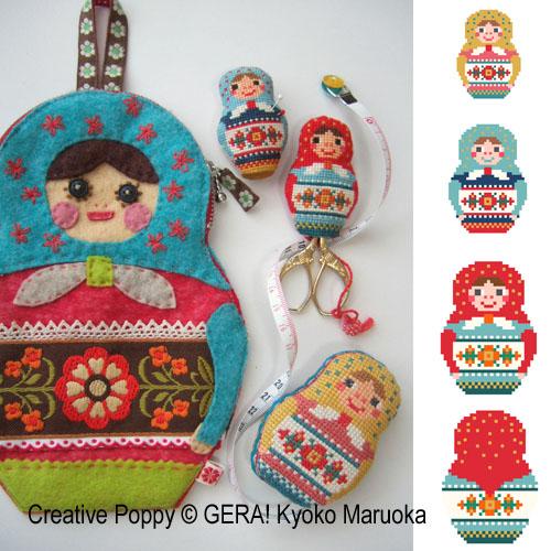 Matryoshka Needlework Set cross stitch pattern by GERA! Kyoko Maruoka