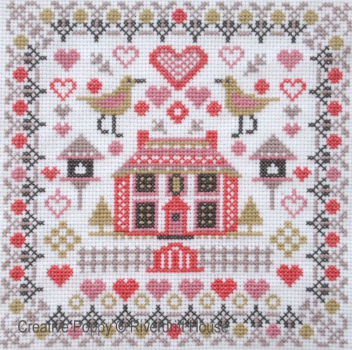 Mini House & Birds cross stitch pattern by Riverdrift House