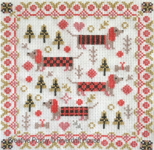 Mini Long Dogs cross stitch pattern by Riverdrift House