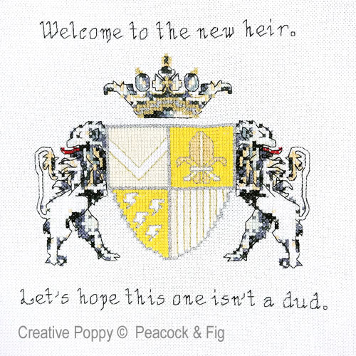 New Heir cross stitch pattern by Peacock & Fig