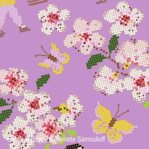 Cherry Blossom cross stitch pattern by Perrette Samouiloff, zoom 1