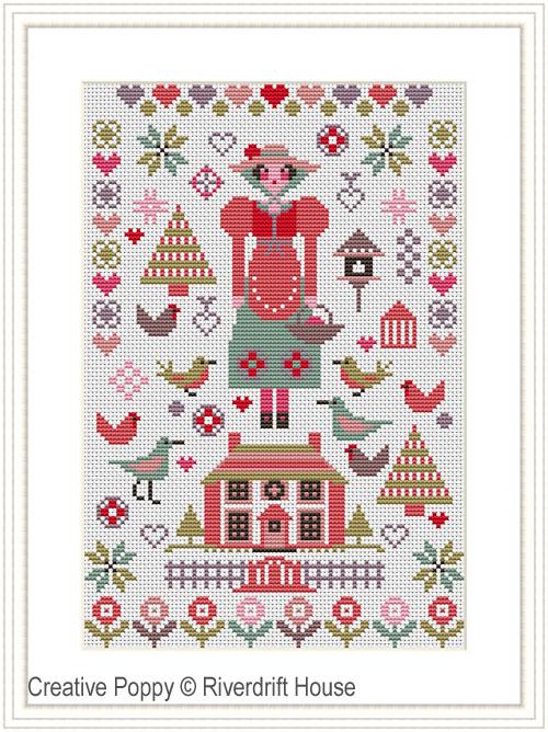 Pink House Mini Sampler cross stitch pattern by Riverdrift House