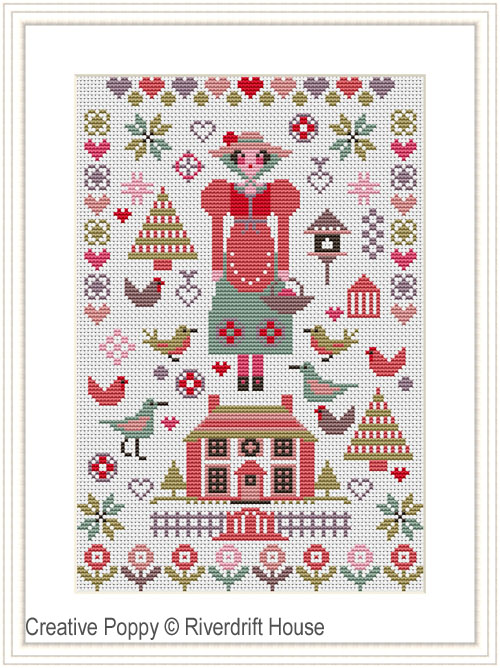Pink House Mini Sampler cross stitch pattern by Riverdrift House