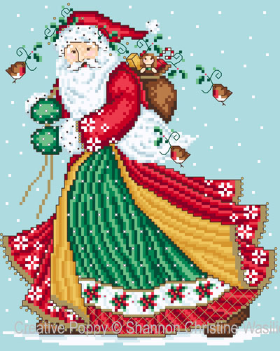 Jolly Santa cross stitch pattern by Shannon Chrsitine Designs