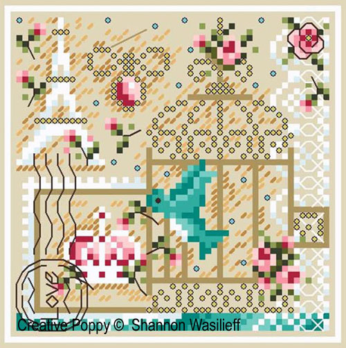 Romance in Paris cross stitch pattern by Shannon Christine Designs, zoom 1
