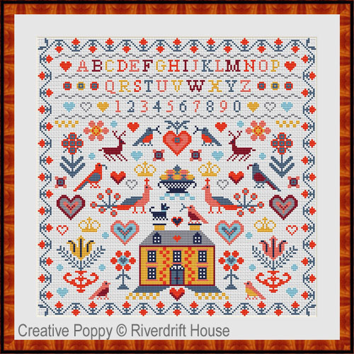 Yellow House Sampler cross stitch pattern by Riverdrift House